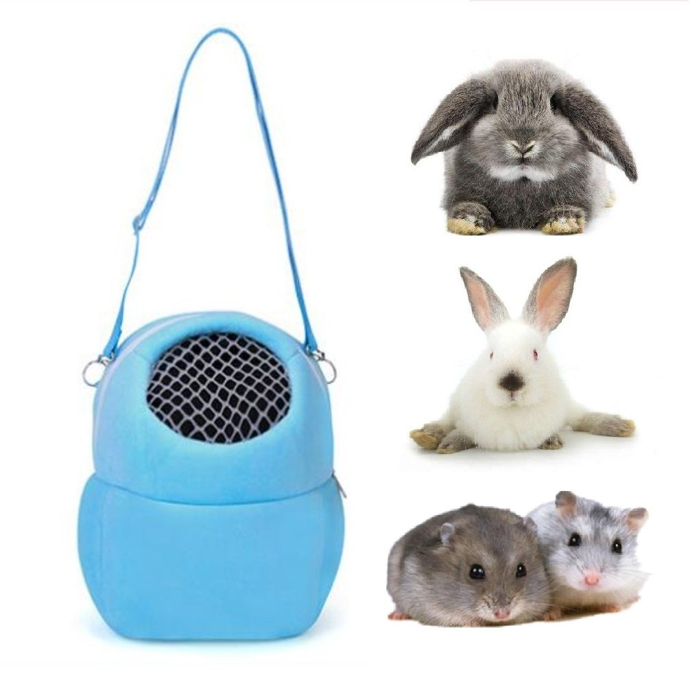 Pet Carrier Bag Portable Travel Bags for for Small pets Breathable Outgoing Bag for Hamster Hedgehog Rabbit Sugar Glider and Squirrel etc Blue) Hamiledyi