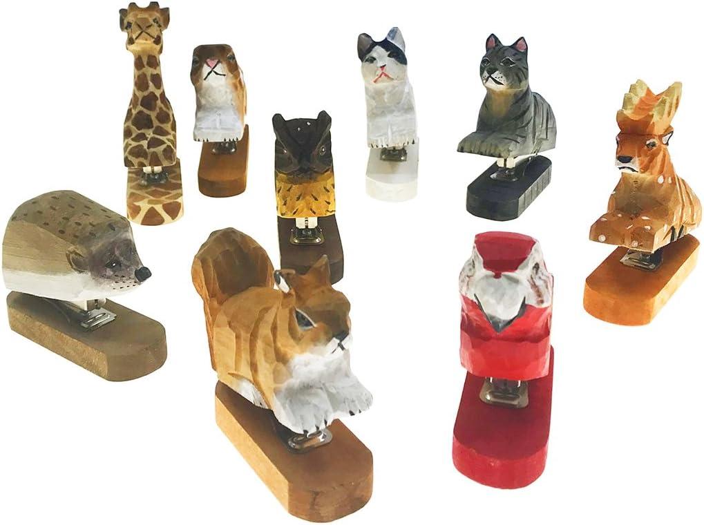 Vivid Handmade Wood Carving Cartoon Mini Animal Stapler for School Office Stationery Children Christmas Gift White Cat
