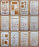 Bullet Stencils Set, Journal Planner Stencils 12 Pack for A5 Notebook & Most Journals, Includes Letter Stencil, Number Stencils, Drawing Stencils, Icons, Charts, Shapes & More Templates for Bujo