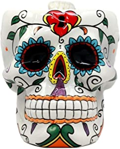 Ebros Gift Colorful Day of The Dead Floral Sugar Skull Cranium Shaped Mug With Bone Handle Coffee Beverage Cup Ceramic Porcelain 4.5