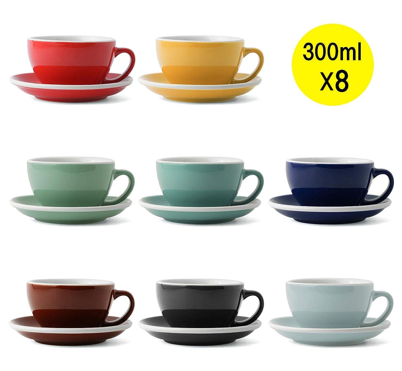 Loveramics エッグ ラテ コーヒー ティーカップセット300ml EGG Latte Cup & Saucer SET 8個セット ファミリカラー (8) B07RVCGMYK  8