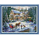 Docooler DIY Counted Cross Stitch Kit Christmas Scenery Home Decor 57*44cm