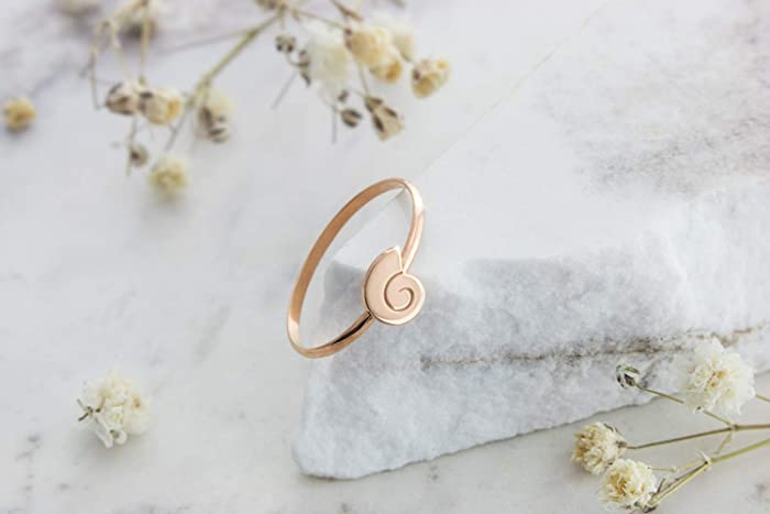 bc475adcd1719 Amazon.com: Tiny Gold Sea Shell Ring, 14K Gold Ring, Rose Gold ...