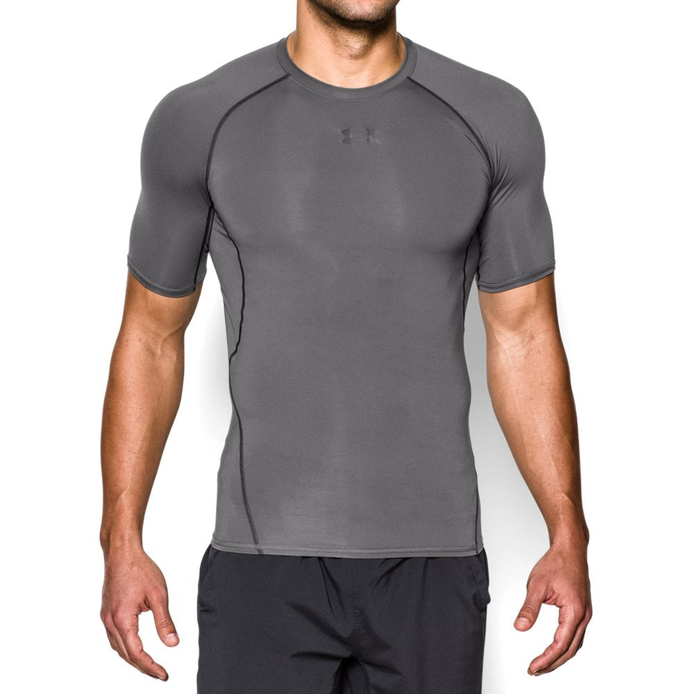 Under Armour mens HeatGear Armour Short Sleeve Compression T-Shirt, Graphite (040)/Black, Medium by Under Armour