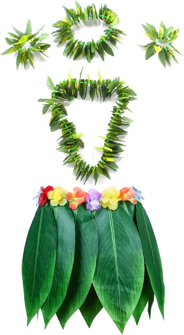 Fortuning's JDS Hawaiian Hula Leaf Grass Skirt Necklaces Bracelets Headband Luau Party Supplies (5Pcs)