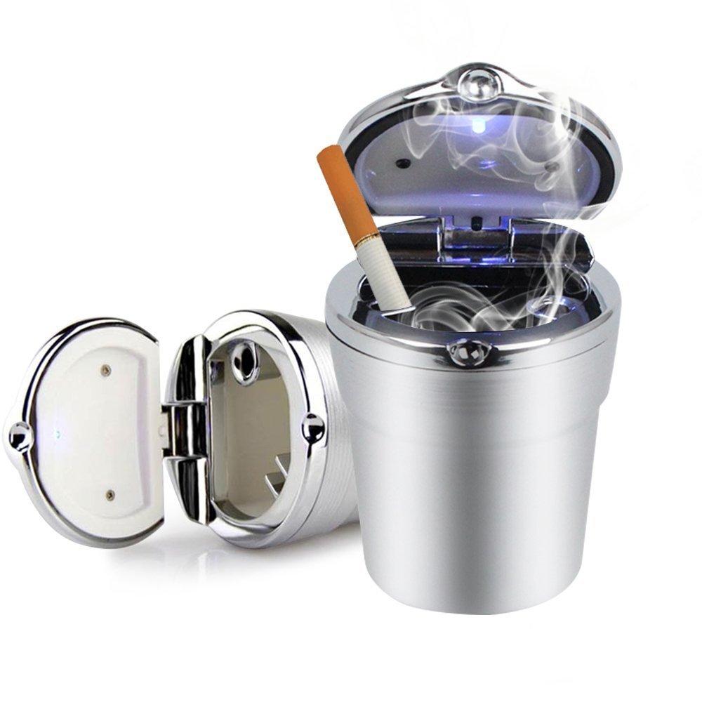 Car Ashtray Lid - Portable auto car ashtray with LED light, smokeless home/office/travel ashtray (Black). Medium Black yongding