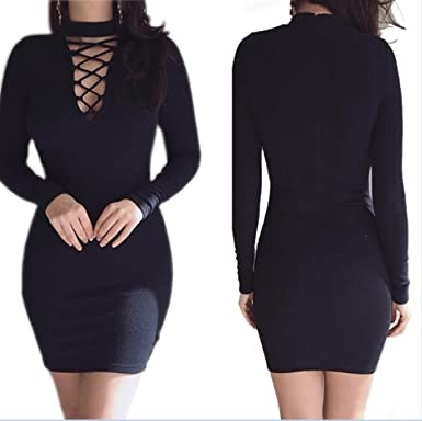 cf3f2434da4 Truntol Knitting Women Sweater Dress Zipper Lace Up Sexy Long Sleeve Bodycon  Casual Mini Dress