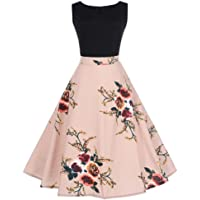 YINROM Women Vintage Dress Ladies Fashion Floral Bodycon Sleeveless Evening Party Pleated Swing Dress