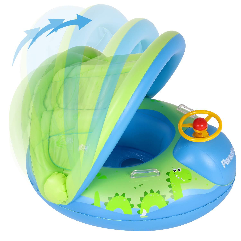 Peradix Flotadora para bebés 6meses-3 Años Barco Inflable Flotador con Asiento Respaldo Techo Ajustable Juguetes de Desarrollo de Natación en Agua ...