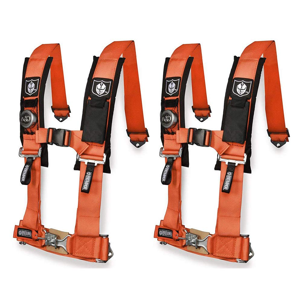 Pro Armor A114230OR Orange 4-Point Harness 3 Straps 2 Pack