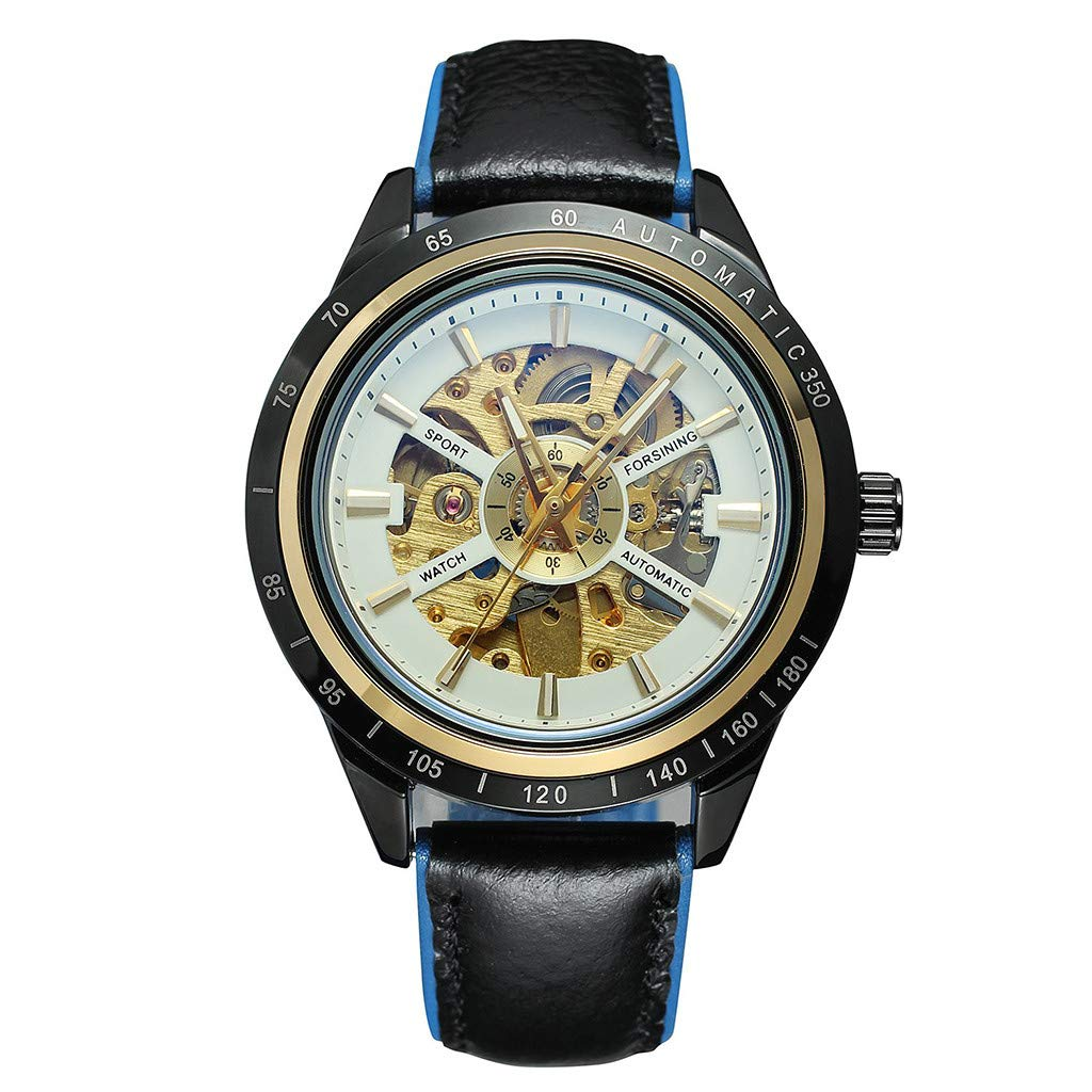 Guartz Watches for Men Digital Under 10 Dollars ❤ Motorcycle Design Transparent Red Black Belt Waterproof Men's Automatic Watch