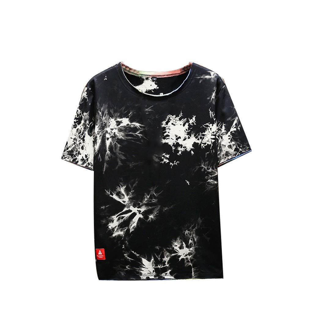 Bsjmlxg Men's Summer Fashion Printed Tie-Dyed Classic Relaxed Fit Blouse Comfortable Top Black by Bsjmlxg