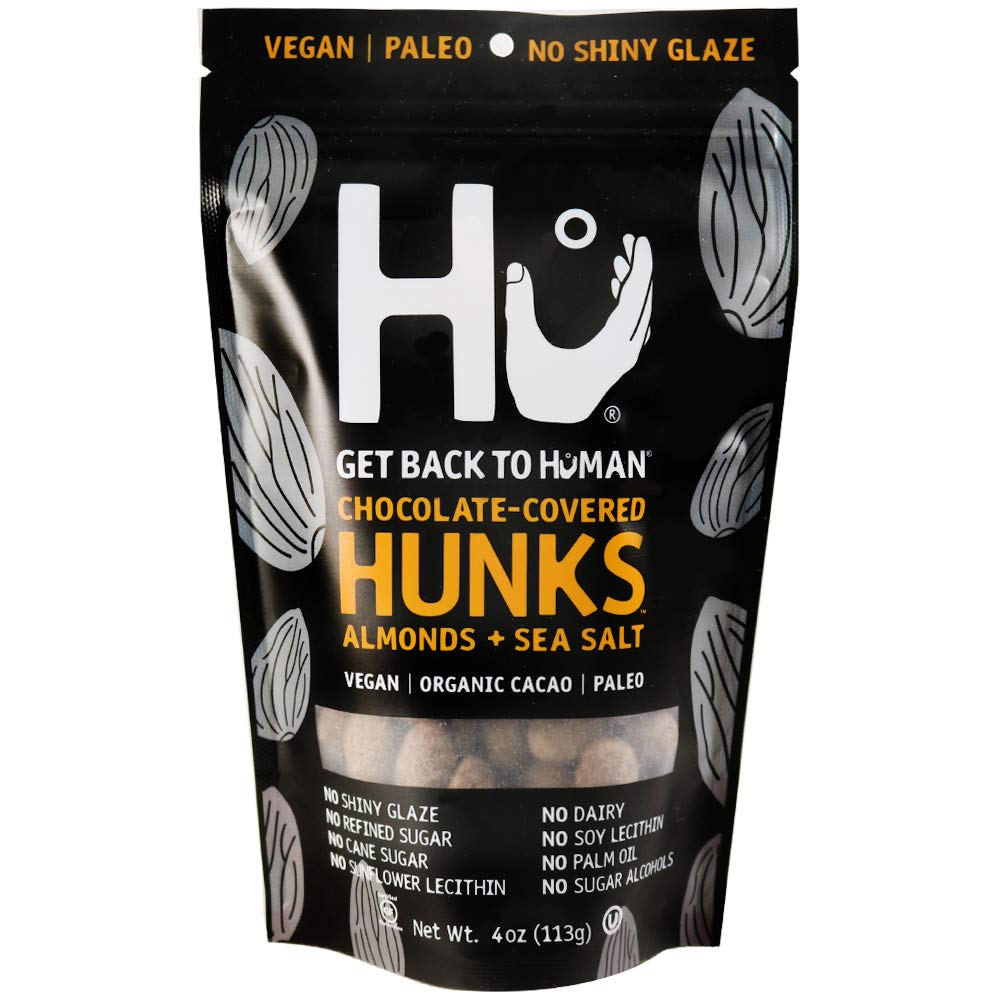 Hu Hunks Vegan Chocolate Covered Almonds With Sea Salt | 2 Pack | Non-GMO, Gluten Free, Paleo, Organic Dark Chocolate