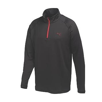 puma 1 4 zip. puma golf men\u0027s solid 1/4 zip popover shirt, small, black 1 4