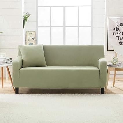 JiaQi Espesar Antideslizante Funda de sofá,Funda elástica,Four Seasons Conjuntos de Vinilo para sofá-Verde Claro Asientos de Amor