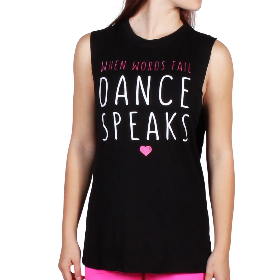 Gia Mia Girl's Dance Speaks Tank Small (4-6) Black
