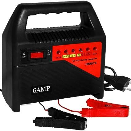 Deuba Cargador de batería móvil de 6 Amperios con interruptor 6 a 12 V protección sobrecalentamiento y cortocircuitos