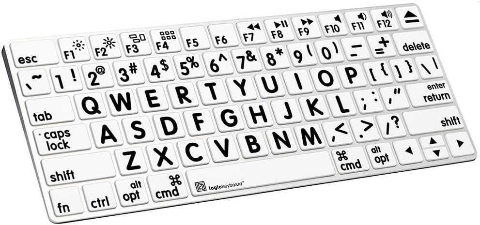 LogicSkin XLPrint Black on White Keyboard Cover Compatible with Apple Magic Keyboard - LK-LS-LPBW-MAGC