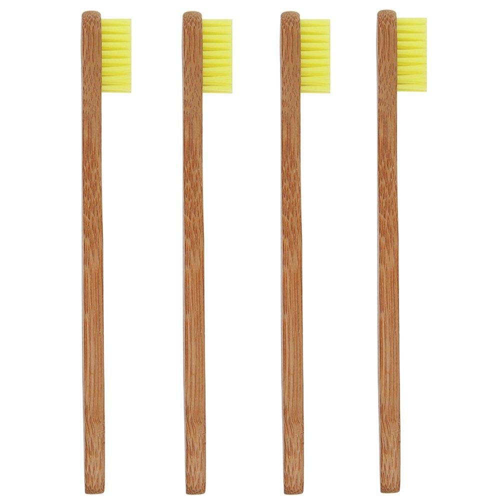 SoniFox 4Pcs Bamboo Toothbrush for Kids Eco-Friendly biodegradable Bamboo Handles and BPA-Free Nylon Bristles For Natural Dental Yellow Color