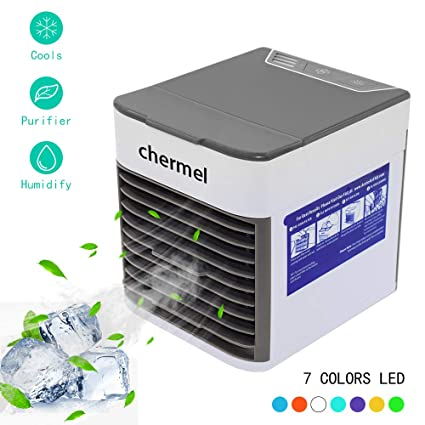Portable Air Conditioner Fan,4-in-1 Personal Evaporative Air Cooler Mini Air Humidifier Purifier Ultra-Quiet Desktop Cooling Fan with 7 Color LED Night Light With Portable Handle for Home Office Baby