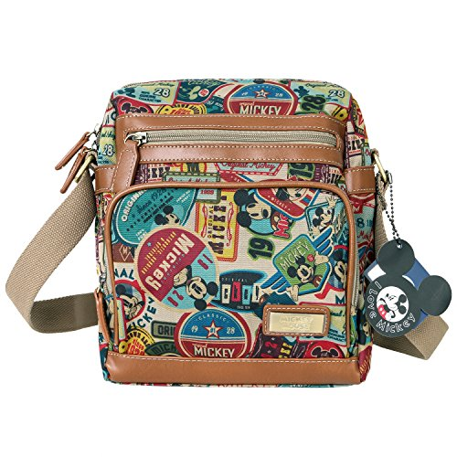 Body Vintage Purpose Multi Mickey Pattern Disney Bag Mouse Brown Cross 06dw0q