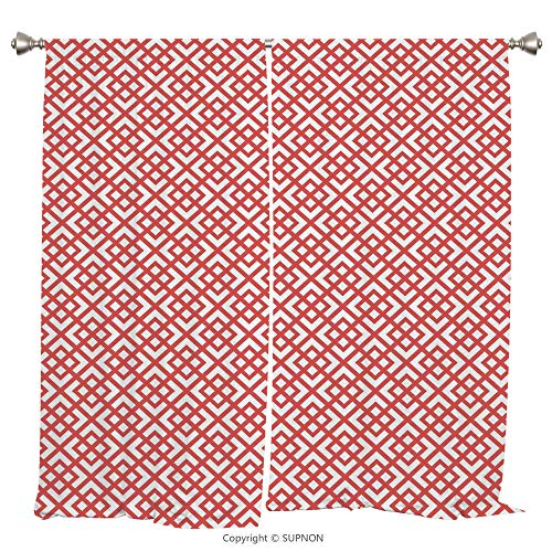 Rod Pocket Curtain Panel Thermal Insulated Blackout Curtains for Bedroom Living Room Dorm Kitchen Cafe/2 Curtain Panels/55 x 39 Inch/Pink Decor,Square Shapes Horizontal Image with Diamond Shapes Trian - Square Panthers Pittsburgh