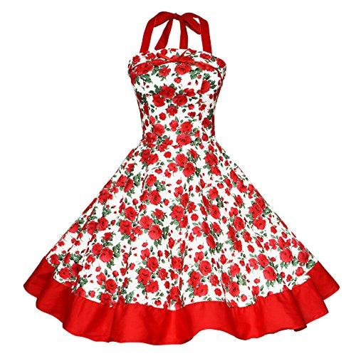 Maggie Tang Women's 1950s Vintage Rockabilly Dress Size 2XL Color Red Rose