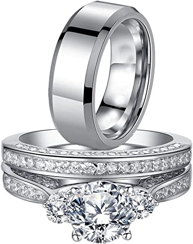 Mabella His And Hers Wedding Ring Sets 3 Stone Womens Silver Cz