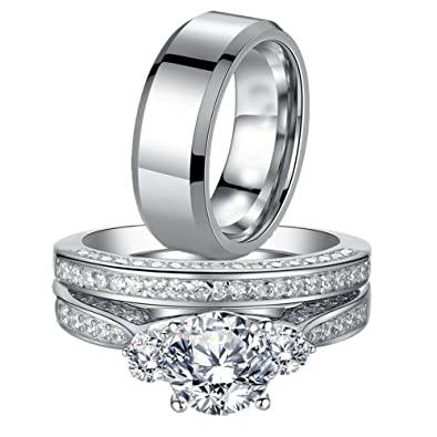 MABELLA His And Hers Wedding Ring Sets Three Stone Womens Silver Cz Ring Set  And Mens