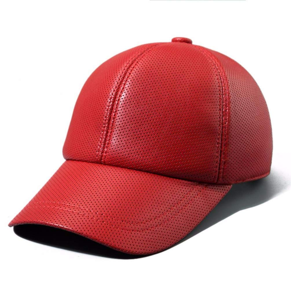 Thundertechs Man Woman Autumn Winter Outdoor Leather hat Baseball Cap Ventilation Visor (Color : Red, Size : 21.65-23.62inch)