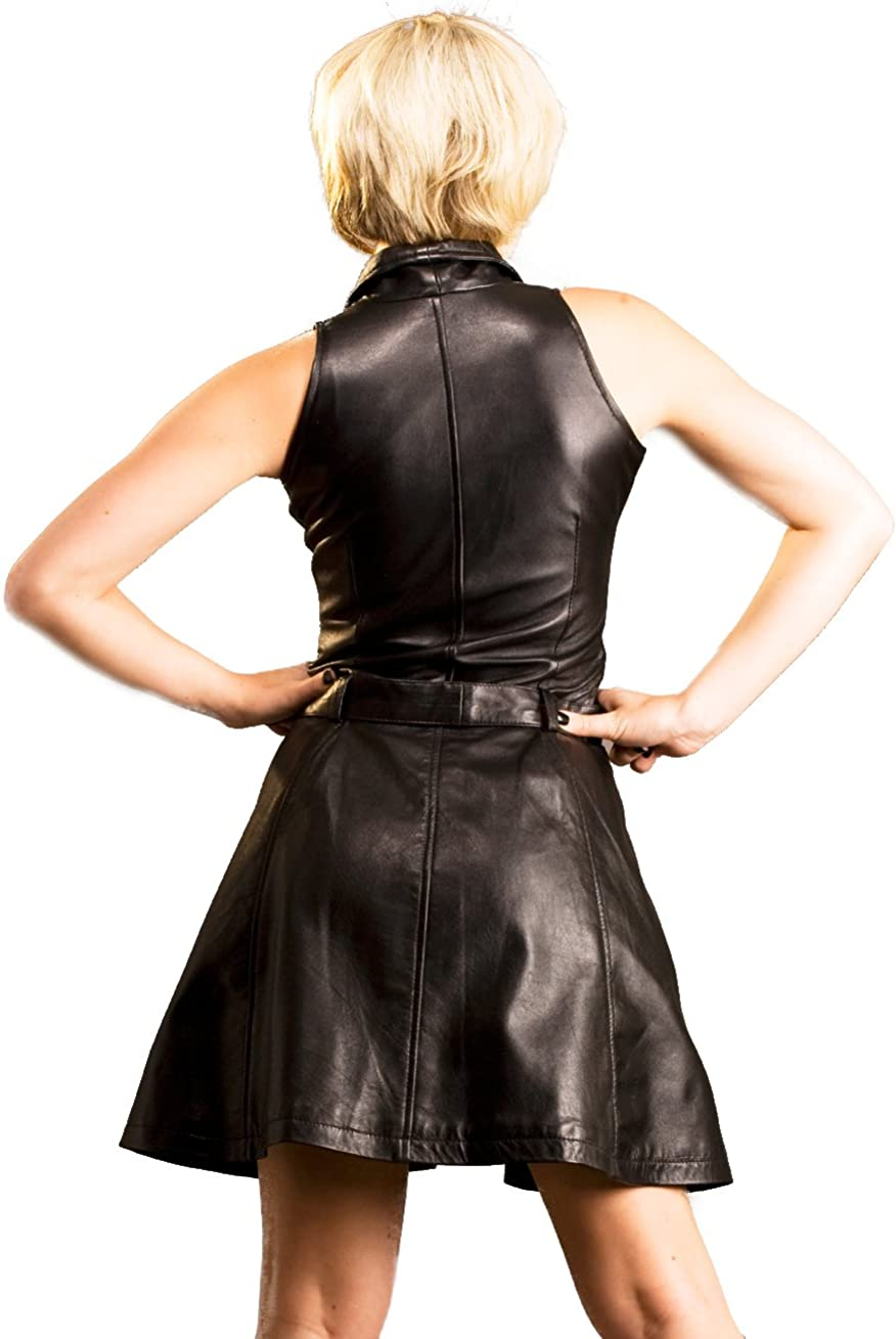 Honour Womens Girly Beauty Dress with Low V Neckline and Collar in Leather