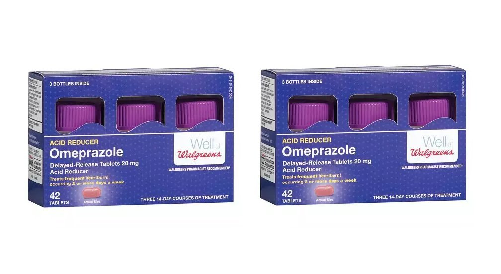 Walgreens Omeprazole Acid Reducer, 20mg Tablets - 84 count (2 packs of 42 each) Bulk Pack