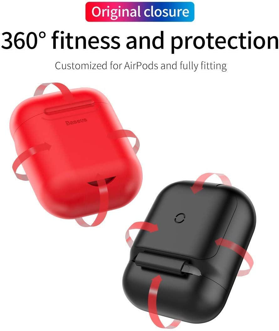 Airpods Wireless Charging Case,Wireless Charging Receiver for Airpod Red Airpod Compatible Qi Charging Lightning Adapter Sleeve Silicone Case Cover with Any Qi Wireless Charger