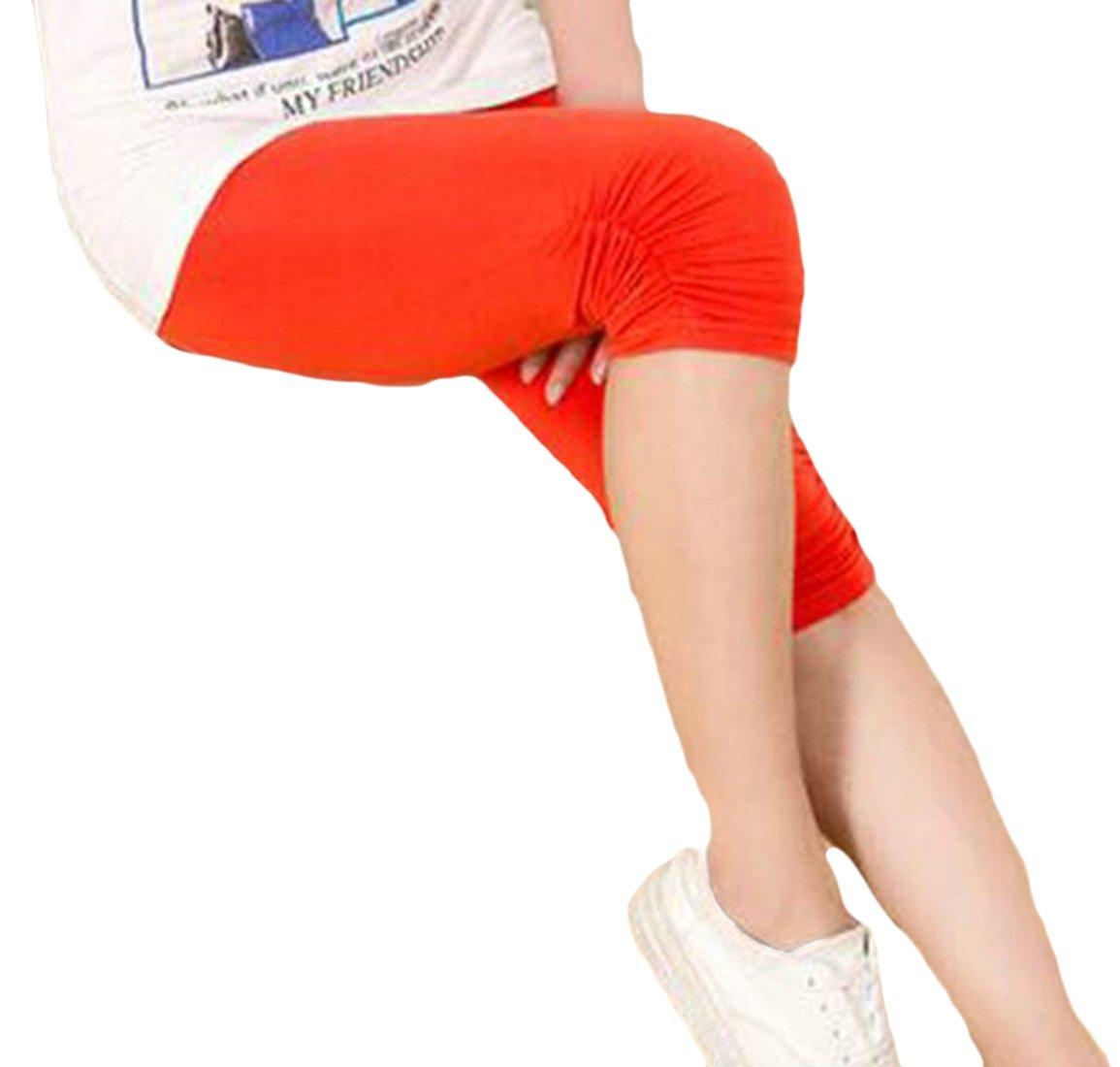 Etecredpow Women Plus Size Stretch Stylish Capri Solid Color Pants Sheath Legging Orange XL