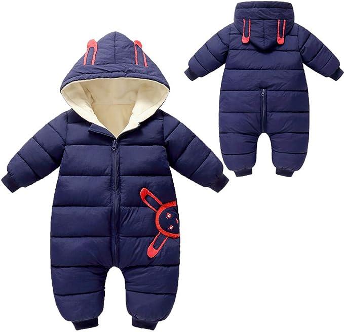 LijunMimo S/äugling Baby Jungs M/ädchen Winter Warm Overall Karikatur Drucken Nieder Baumwolle Strampler Mit Kapuze Bodysuit Outfits (0-24 Monate)