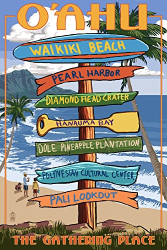 Waikiki Beach, Oahu, Hawaii - Destinations Sign (24x36 SIGNED Print Master Giclee Print w/ Certificate of Authenticity - Wall Decor Travel Poster) by Lantern Press