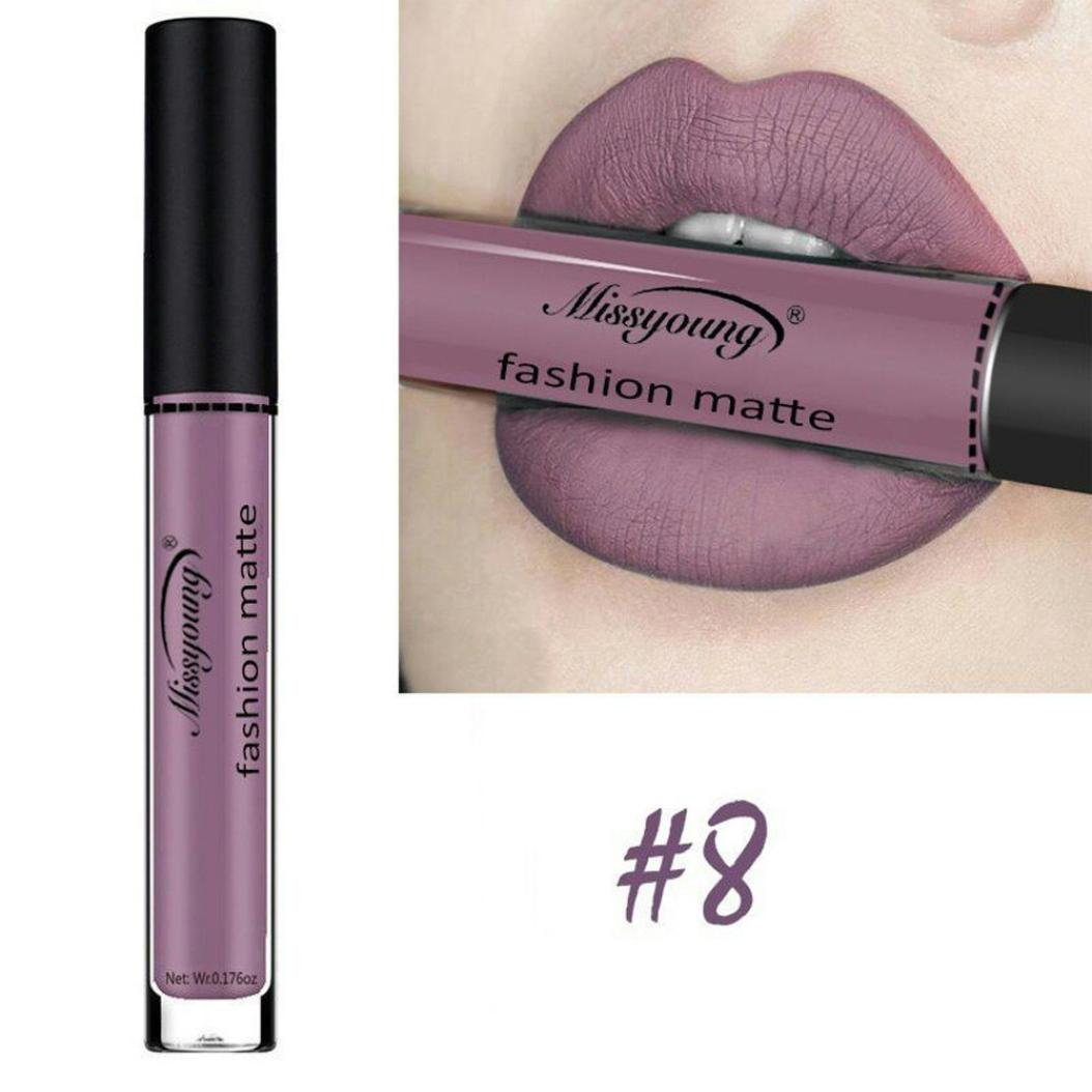 Women Cosmetics Matte Lip Gloss & Metallic Lip brillant Moisturizing Long-lasting Luster Lipstick (Miss young 08)
