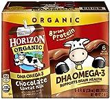 Horizon Organic Low Fat Organic Milk Box Plus DHA Omega-3, Chocolate, 6 Count (Pack of 3)