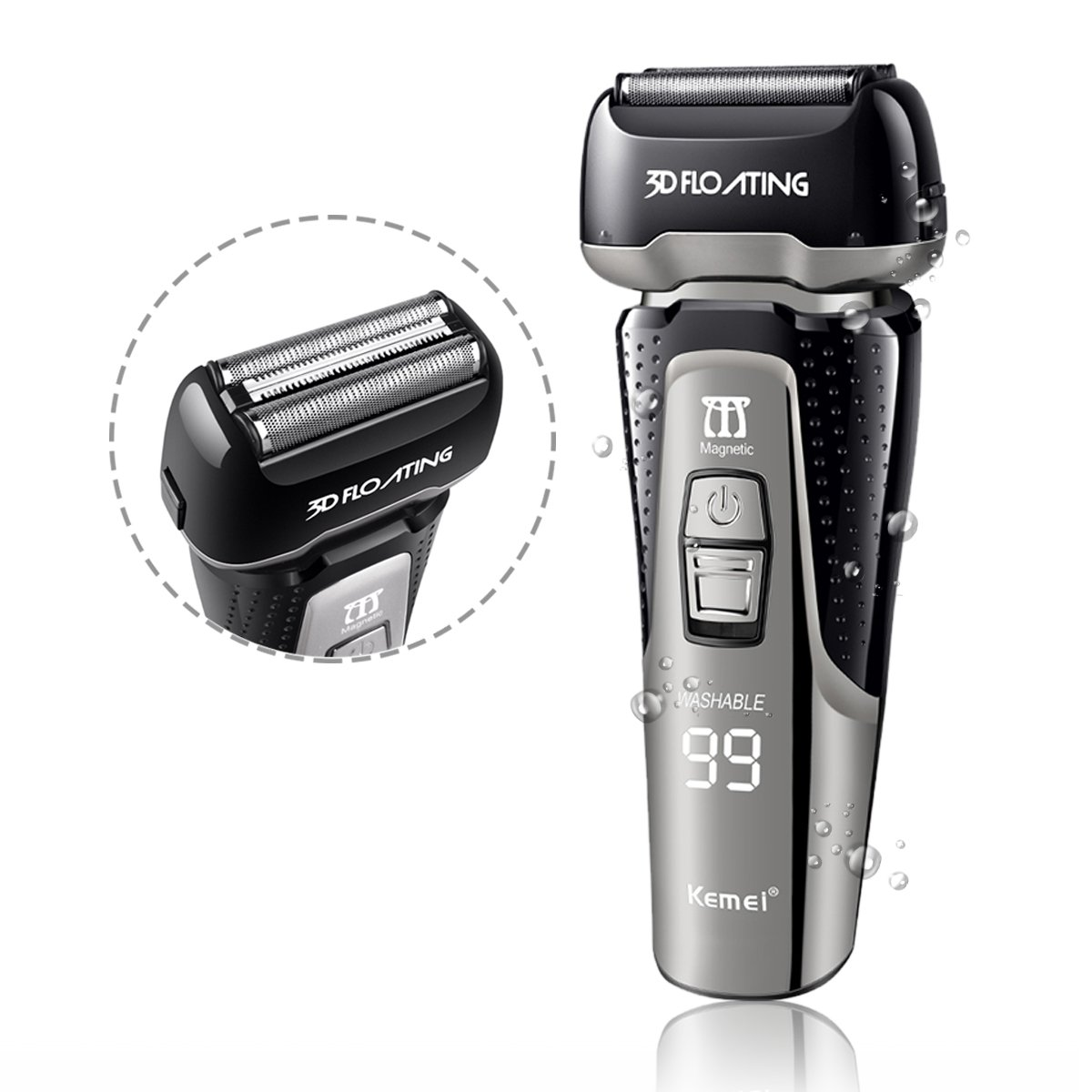 Foil Shaver T-Antrix Men's Waterproof Rechargeable LCD Display 3-Blade Lithium Battery Wet/Dry Cordless Mens Electric Razor Shavers Pop up Trimmer Travel Pouch Black AHGRD006391