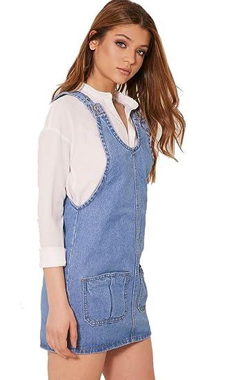 31223c3fc5 shelikes Womens Blue Denim Sleeveless Dungaree Jean Pinafore Skirt Dress- Denim-RK-2064
