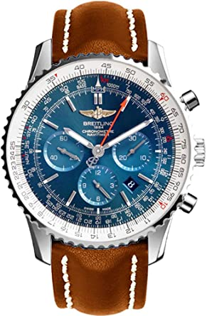 Amazon.com  Breitling Navitimer 01 Stainless Steel on Brown Leather ... b49719604