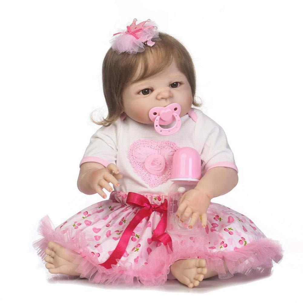 CHENG Regalo di Tocco Reale della Bambola del Bambino del Silicone della Bocca Magnetica della Bocca 22inch delle Bambole del Bambino di Reborn
