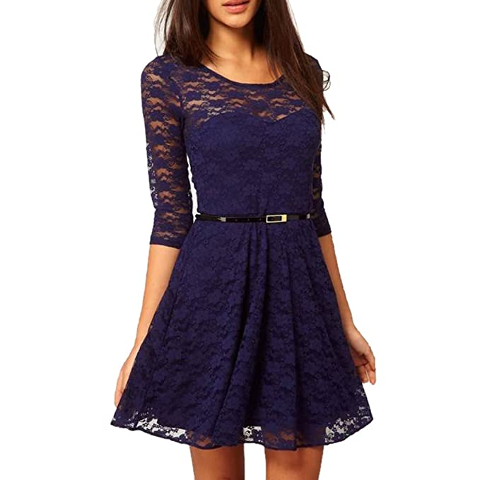 Amazon.com: fashionbeautybuy Women O Neck Midi Skater Dress 3/4 Sleeve Lace Cocktail Dresses Waist Belt: Clothing