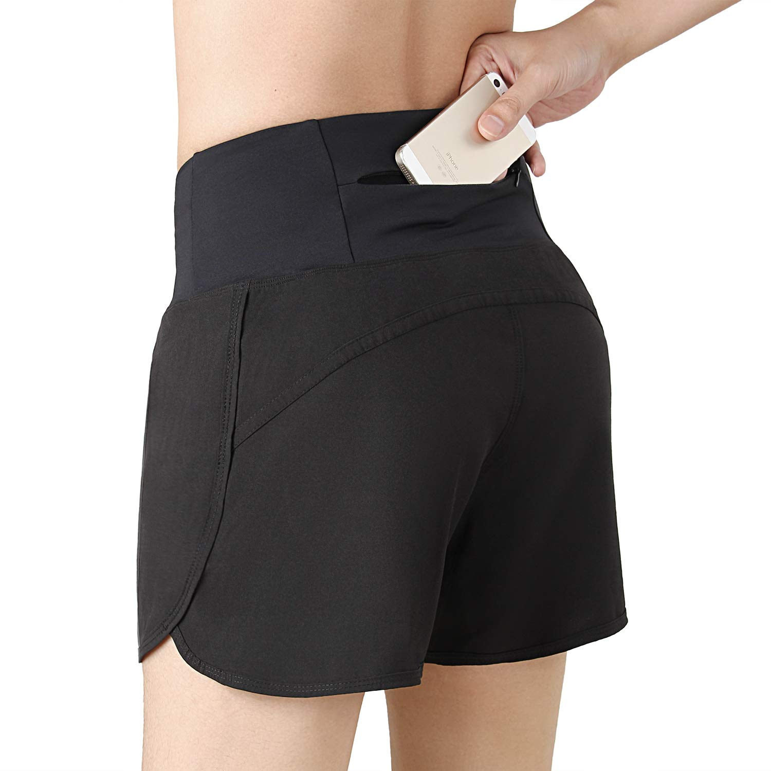 INIBUD Running Shorts for Women with Brief High Waist with Pocket Workout Athletic Yoga 4 Inches (Black, S) by INIBUD