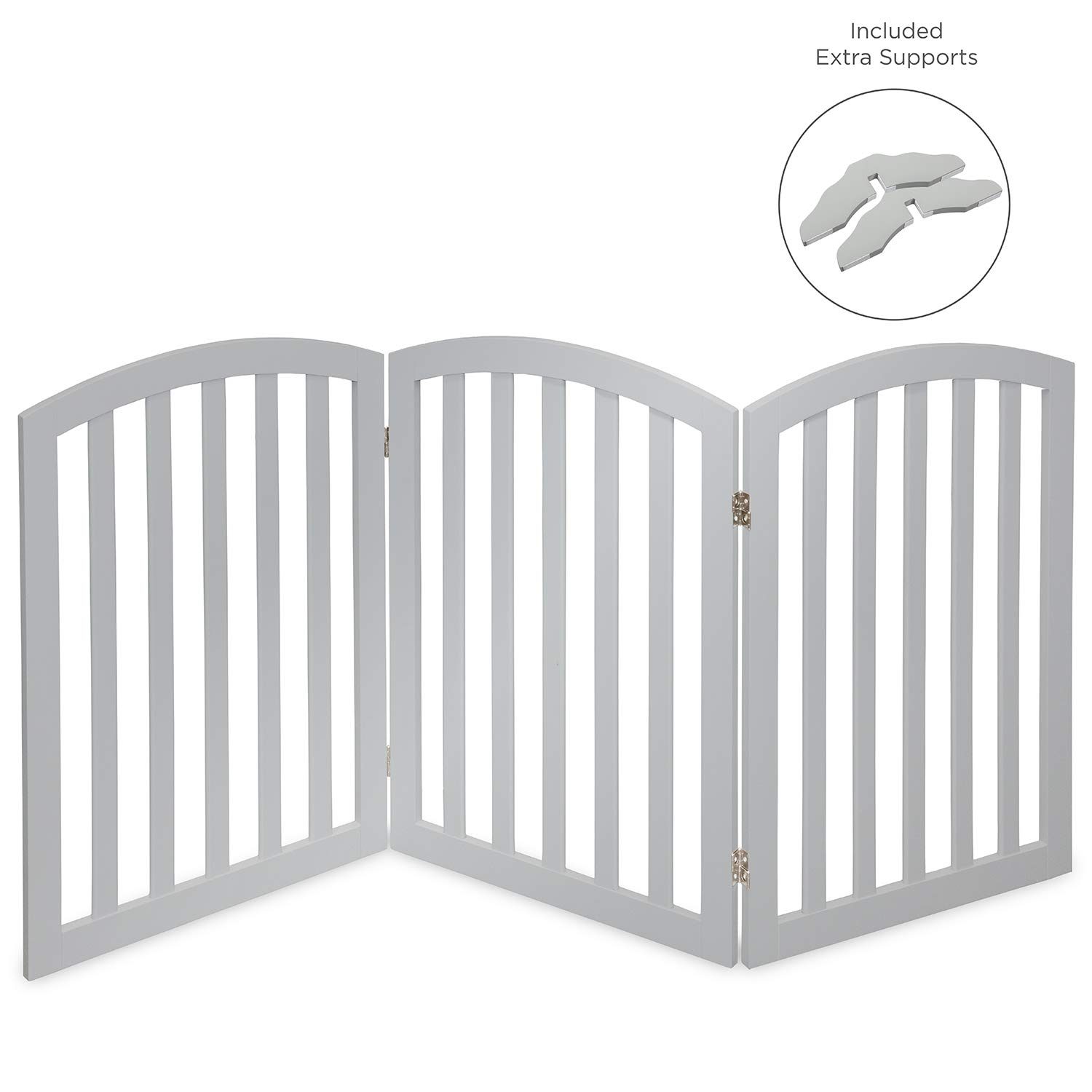 Arf Pets Free Standing Wood Dog Gate, Expands Up to 74'' Wide, 31.5'' Tall - Bonus Set of Foot Supporters Included – Grey Color