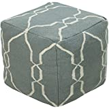Surya POUF-25 Hand Made 100% Wool Tan 18'' x 18'' x 18'' Pouf