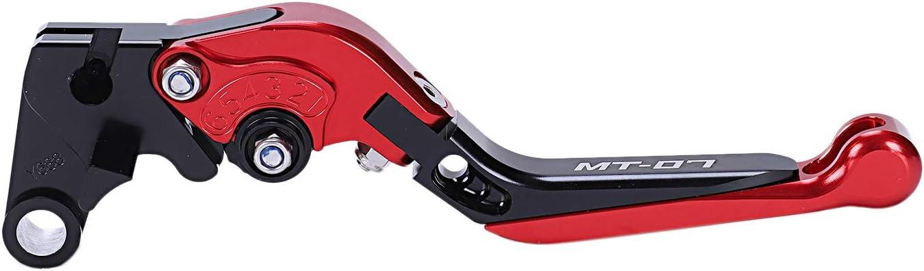 SODIAL Accessoires de Moto Leviers dembrayage de Frein Extensibles Pliants CNC en Aluminium pour Yamaha Mt-07 MT 07 Fz-07 Fz 07 2014-2018 Noir