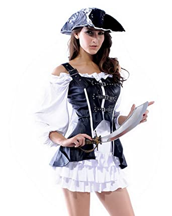 4pcs pirate noir et blanc Costume Maiden Robe Robe courte