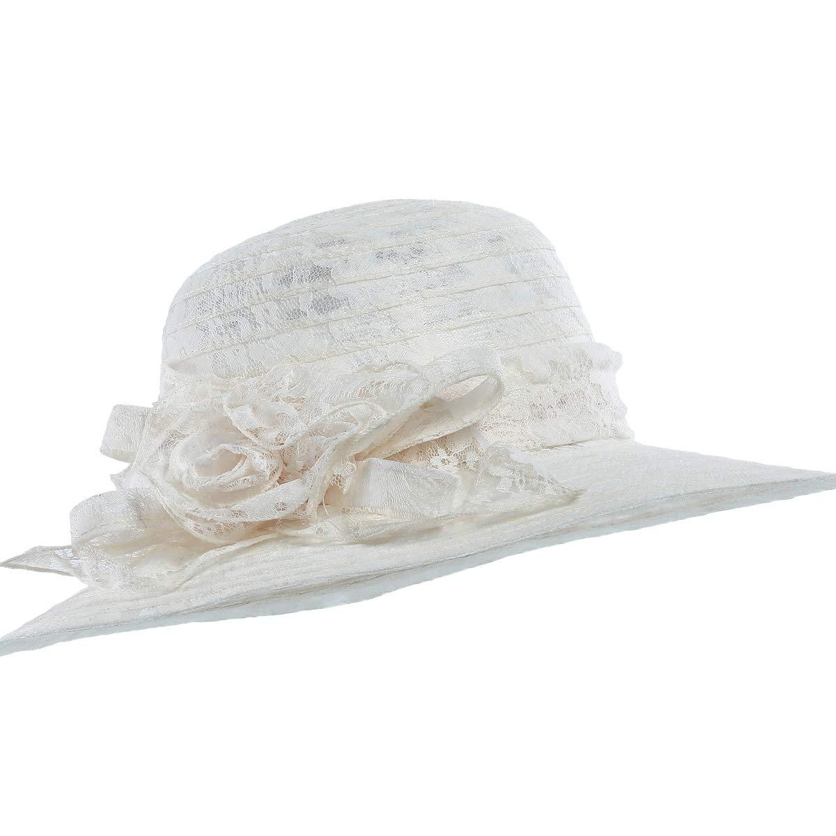 c1544f6dc1e WELROG Women s Kentucky Derby Church Hat - Foldable Floppy Dress Hats  Fascinators Fancy Wide Brim Tea Party Wedding Sun Hats (Beige  3) at Amazon  Women s ...