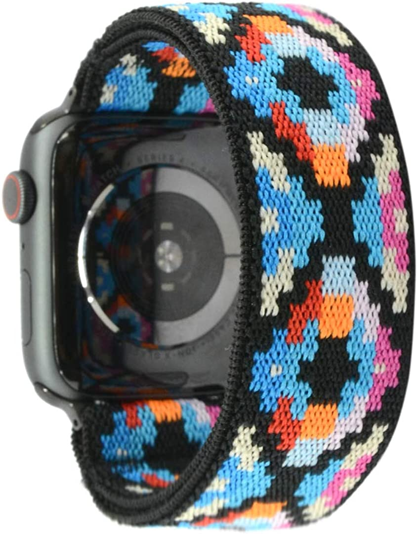 Nomchi Multi-color Double Layer Stretch Elastic Compatible/Replacement Band for Apple Watch 38mm 40mm 42mm 44mm